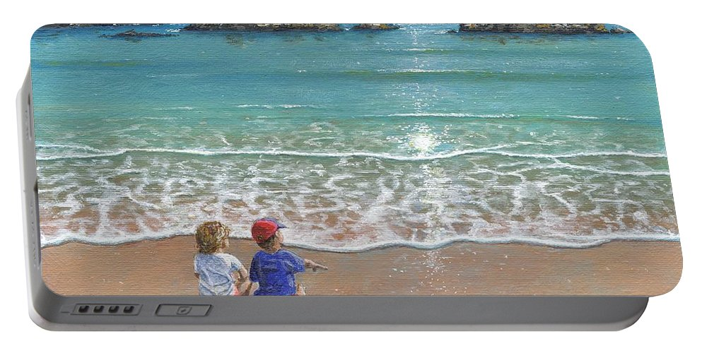 Landscape Portable Battery Charger featuring the painting You And Me by Richard Harpum