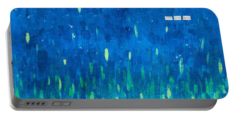 Portable Battery Charger featuring the painting You Are Here by Stefanie Forck