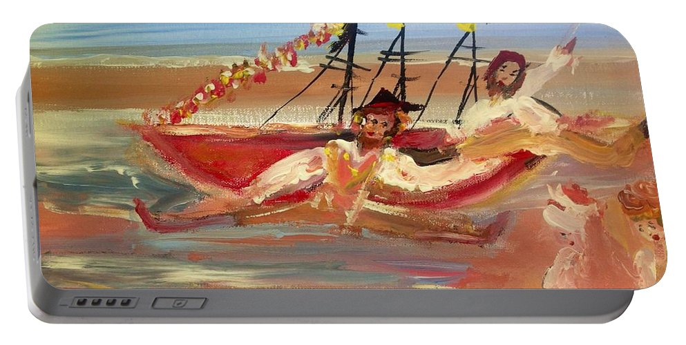 Pirates Portable Battery Charger featuring the painting You Said It Was A Big Boat by Judith Desrosiers