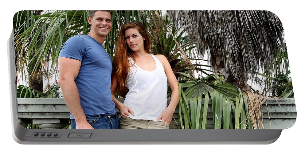 Woman Portable Battery Charger featuring the photograph Young Couple Palm Tree by Henrik Lehnerer
