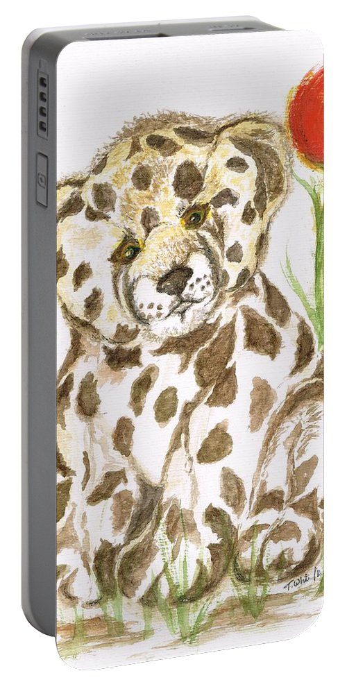 Teresa Portable Battery Charger featuring the painting Young Cub Leopard by Teresa White