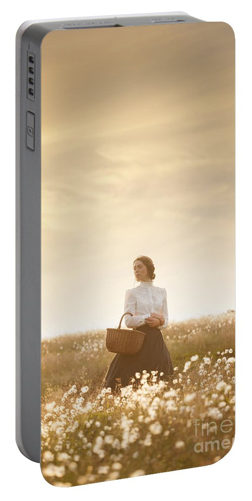 Edwardian Portable Battery Charger featuring the photograph Young Edwardian Woman In A Meadow by Lee Avison