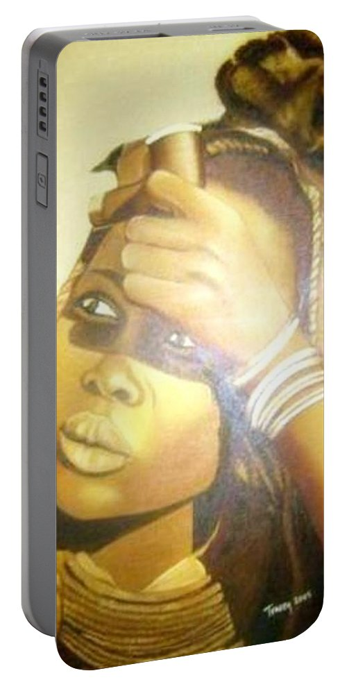 African Portrait Portable Battery Charger featuring the painting Young Himba Girl - Original Artwork by Tracey Armstrong