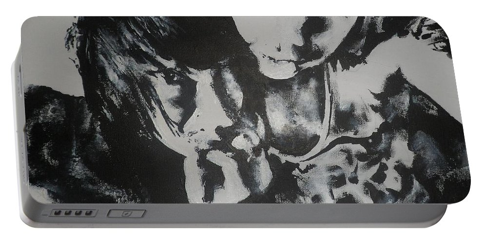 Black Portable Battery Charger featuring the painting Young Lovers by Cherise Foster