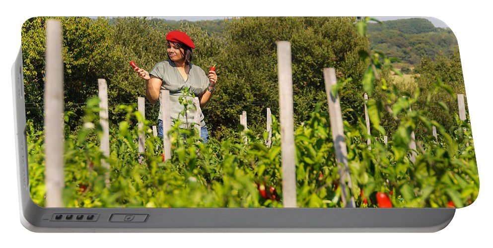 Agriculture Portable Battery Charger featuring the photograph Young Woman Harvesting Red Peppers by Dutourdumonde Photography