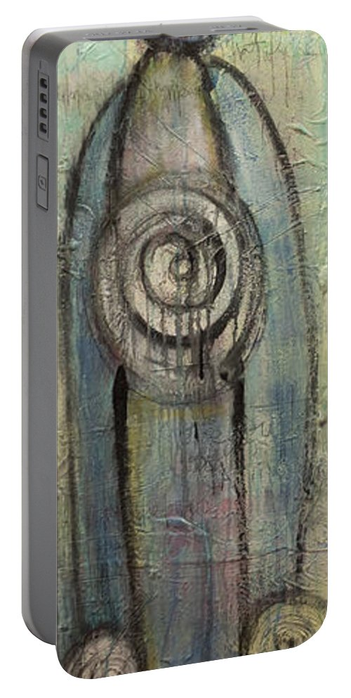 Abstract Portable Battery Charger featuring the painting Your Light Blue Towers Rise Up by Laurie Maves ART