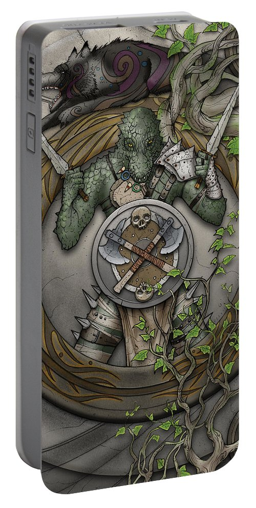 Usherwood Portable Battery Charger featuring the digital art Yrchyn The Tyrant by James Kramer