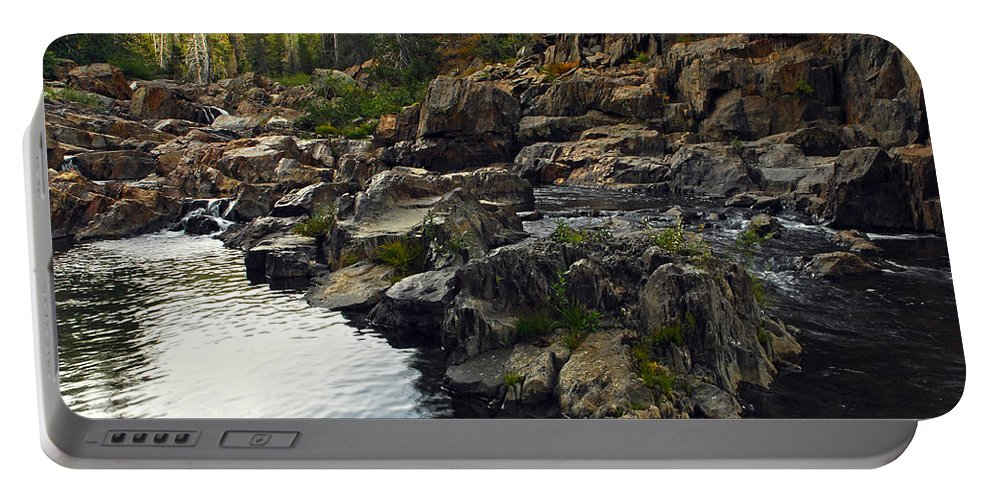 Yuba River Portable Battery Charger featuring the photograph Yuba River Rocks by Donna Blackhall