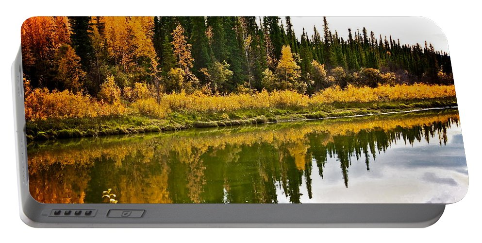 Trees Portable Battery Charger featuring the photograph Yukon Autumn by Linda Bianic