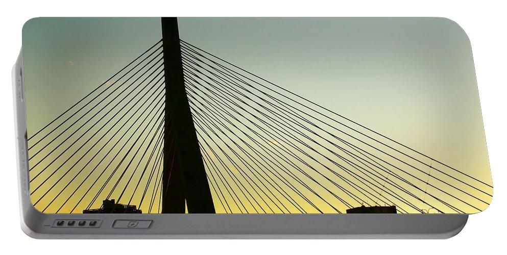 Zakim Portable Battery Charger featuring the photograph Zakim Bridge Silhouette by Nikolyn McDonald