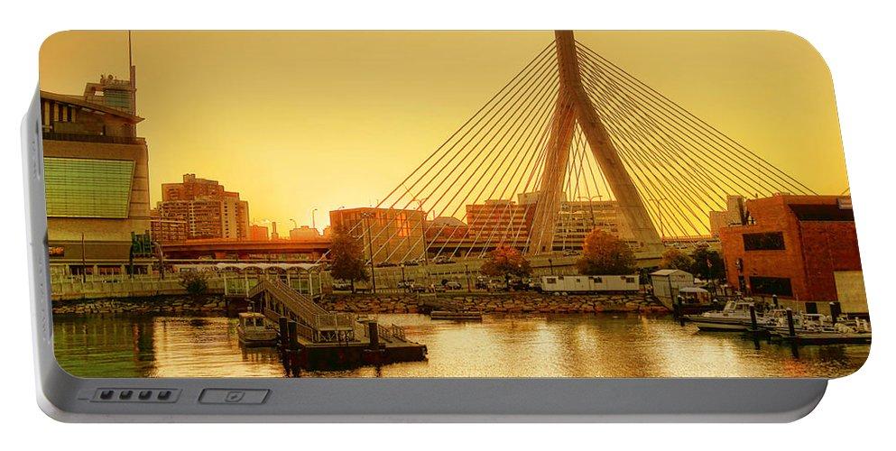 Zakim Portable Battery Charger featuring the photograph Zakim Bridge Sunset by Nikolyn McDonald