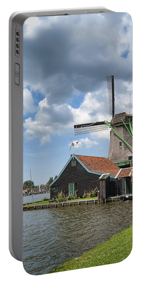 Windmills Portable Battery Charger featuring the photograph Zaanse Schans by Phyllis Taylor