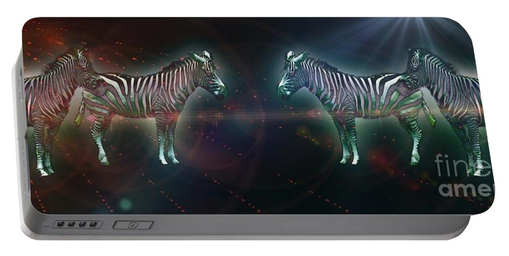 Zebra Portable Battery Charger featuring the photograph Zebra Nation by Lilliana Mendez