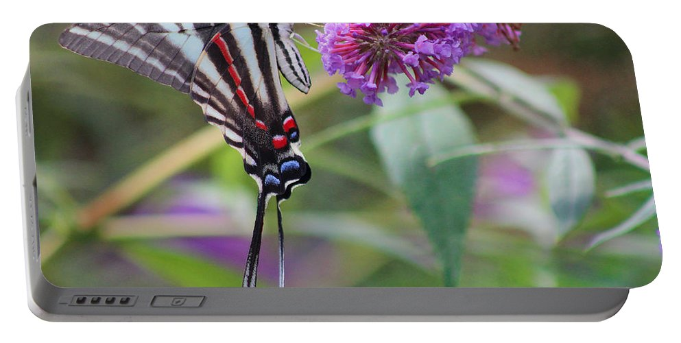 Zebra Portable Battery Charger featuring the photograph Zebra Swallowtail Butterfly On Butterfly Bush by Karen Adams
