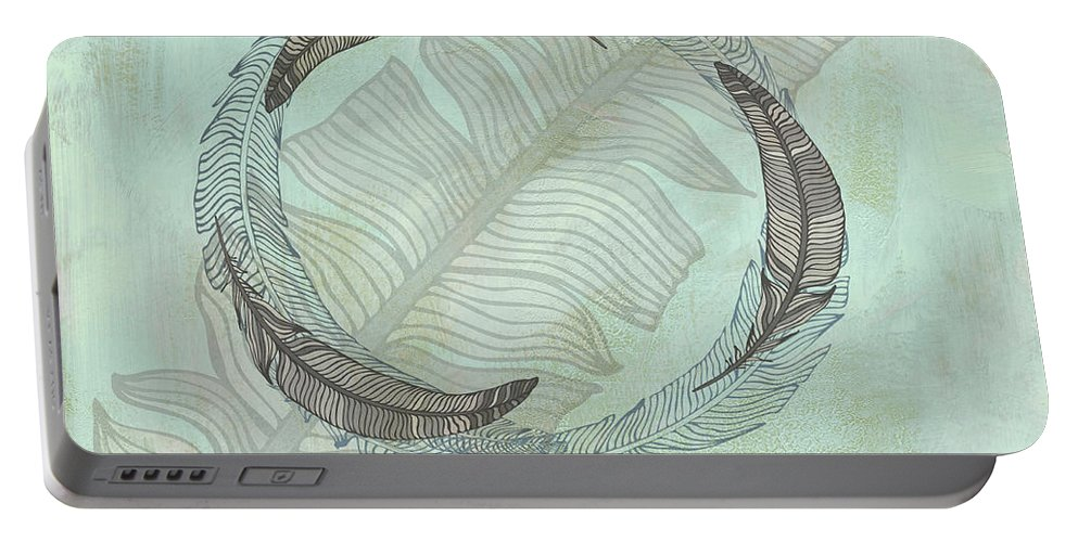 Popular Portable Battery Charger featuring the digital art Zen Feather Circle I I by Paulette B Wright