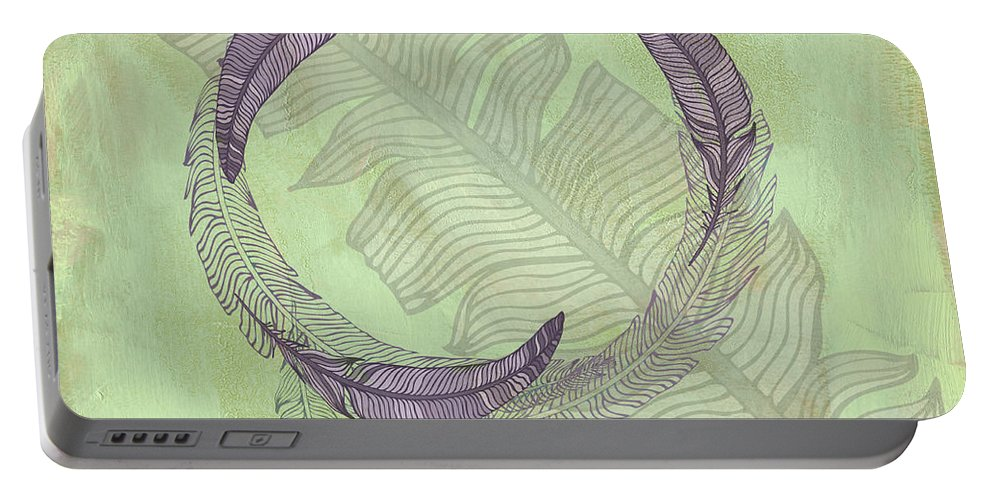 Popular Portable Battery Charger featuring the digital art Zen Feather Circle I V by Paulette B Wright