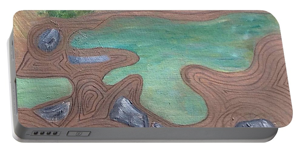 Shapes Portable Battery Charger featuring the painting Zen Garden by Suzanne Surber