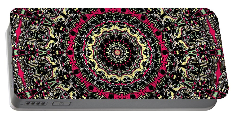 Mandala Portable Battery Charger featuring the digital art Zentangle No. 7 Kaleidoscope by Joy McKenzie