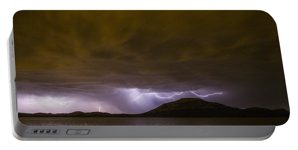 Lake Lawtonka Portable Battery Charger featuring the photograph Zeus' Wrath by Angus Hooper Iii