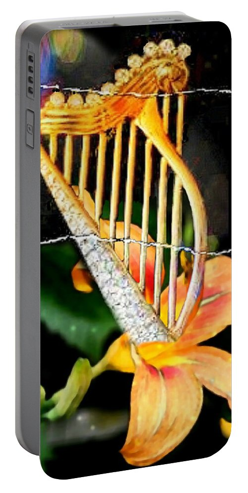 Music Portable Battery Charger featuring the digital art Zing Went The Strings by Ellen Cannon
