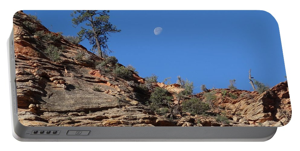 Zion National Park Moonrise Portable Battery Charger featuring the photograph Zion National Park Moonrise by Dan Sproul