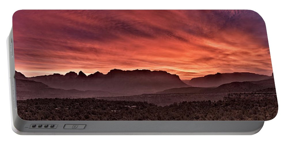 Clouds Portable Battery Charger featuring the photograph Zion National Park Panoramic by Leland D Howard