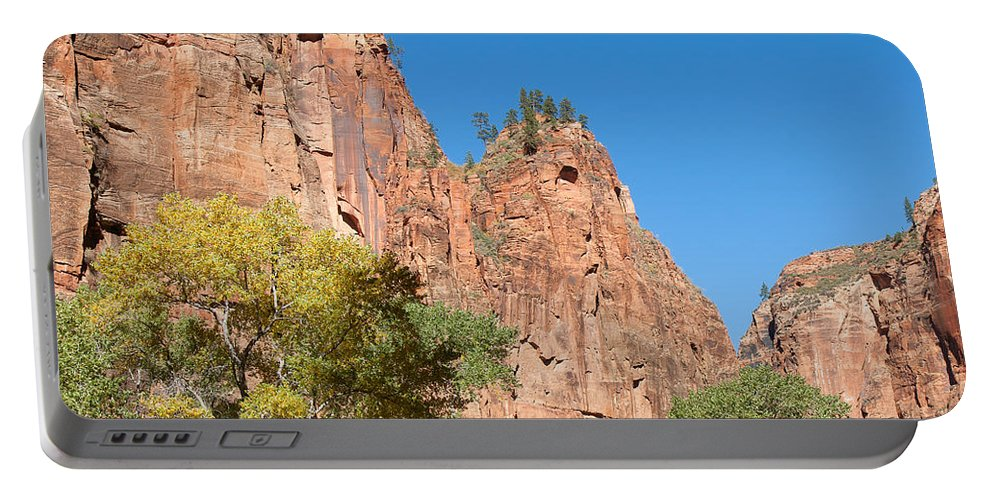 Landscape Portable Battery Charger featuring the photograph Zion Walls by John M Bailey