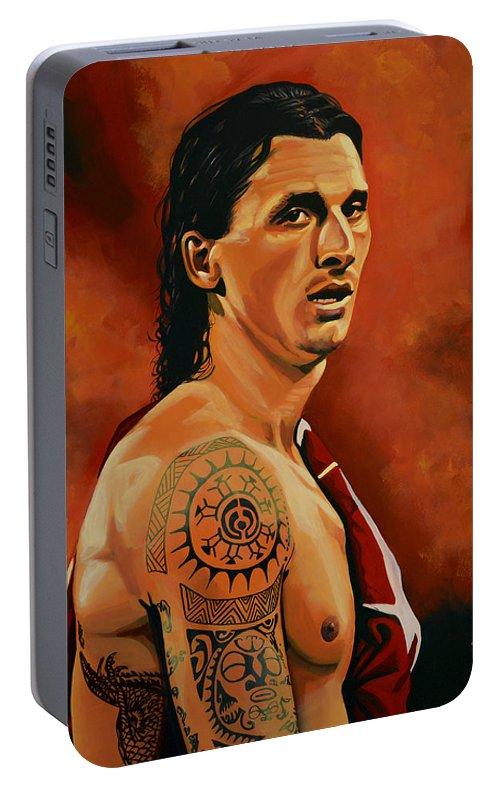 Zlatan Ibrahimovic Portable Battery Charger featuring the painting Zlatan Ibrahimovic Painting by Paul Meijering