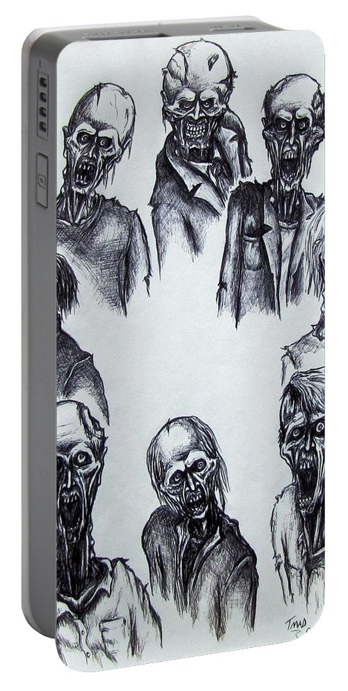 Michael Portable Battery Charger featuring the drawing Zombies by Michael TMAD Finney