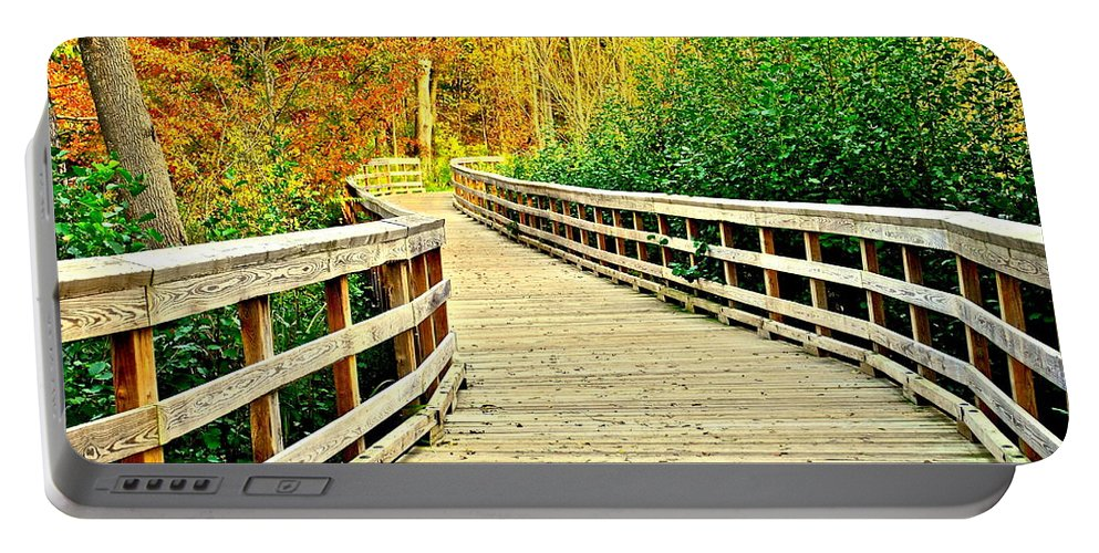 Pathway Portable Battery Charger featuring the photograph Zoom Zoom Walking Path by Frozen in Time Fine Art Photography