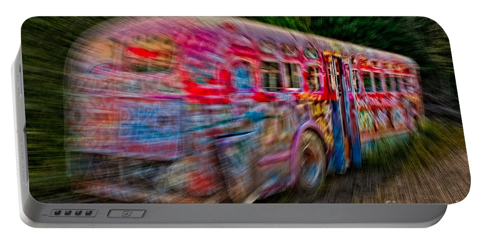 Graffiti Portable Battery Charger featuring the photograph Zooming Graffiti Bus by Susan Candelario