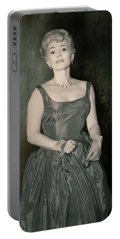 Actress Portable Battery Charger featuring the photograph Zsazsa Gabor In The 1950's by Angela Stanton