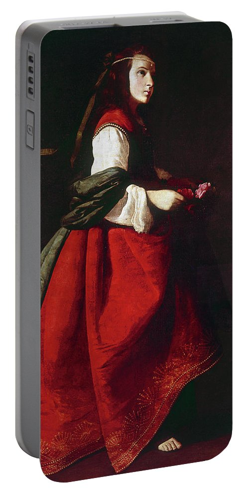 1642 Portable Battery Charger featuring the painting Zurbur�n Saint Casilda by Granger