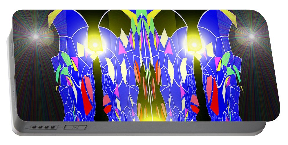 759 Portable Battery Charger featuring the digital art 759 - Touch Of Magic by Irmgard Schoendorf Welch
