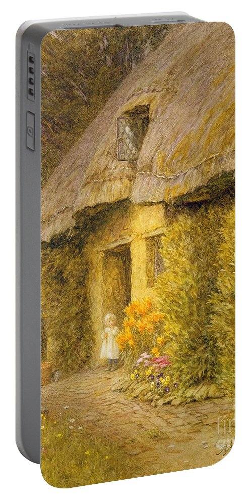 Well Portable Battery Charger featuring the painting A Child At The Doorway Of A Thatched Cottage by Helen Allingham