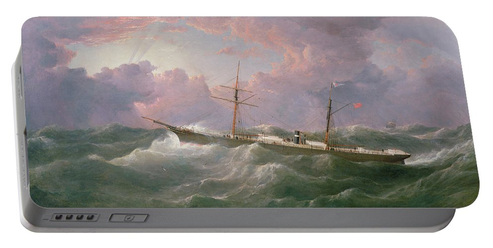 Storm; Sky Portable Battery Charger featuring the painting Portrait Of The Lsis A Steam And Sail Ship by Samuel Walters