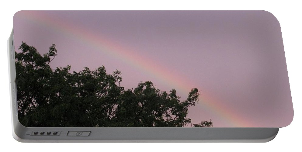 Rainbow Portable Battery Charger featuring the photograph  Rain And Sun Sync Bow by Sonali Gangane