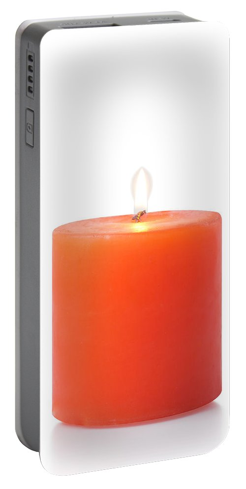 Candle Portable Battery Charger featuring the photograph Red Candle by Atiketta Sangasaeng