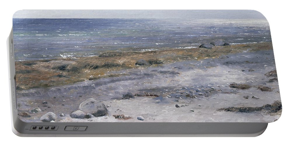 The Beach Portable Battery Charger featuring the painting The Beach Mols by Janus la Cour