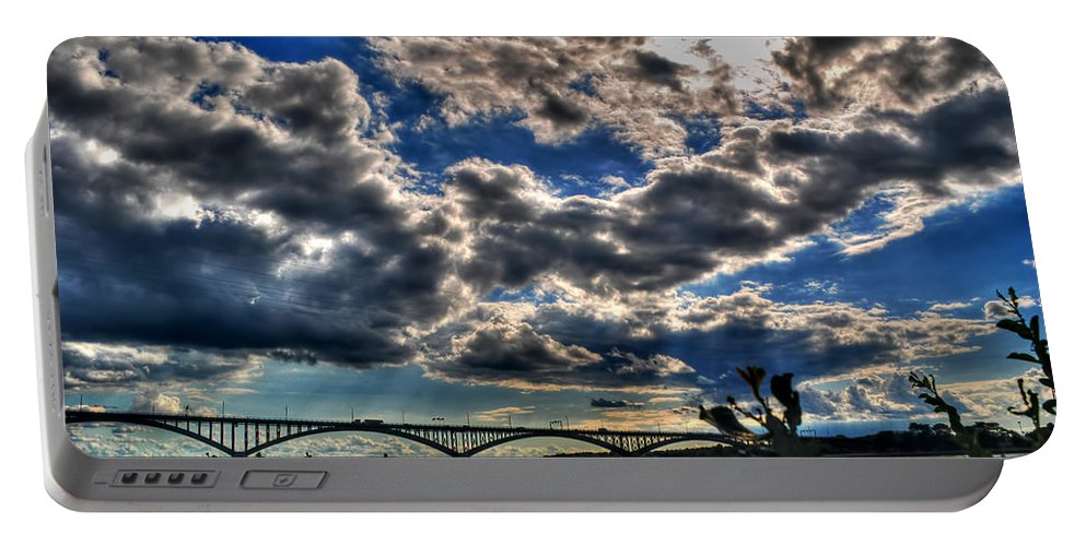 Portable Battery Charger featuring the photograph 001 Peace Bridge Series II Beautiful Skies by Michael Frank Jr