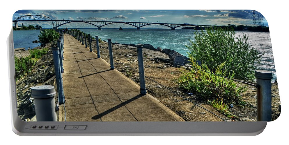Portable Battery Charger featuring the photograph 002 Peace Bridge Series II Beautiful Skies by Michael Frank Jr