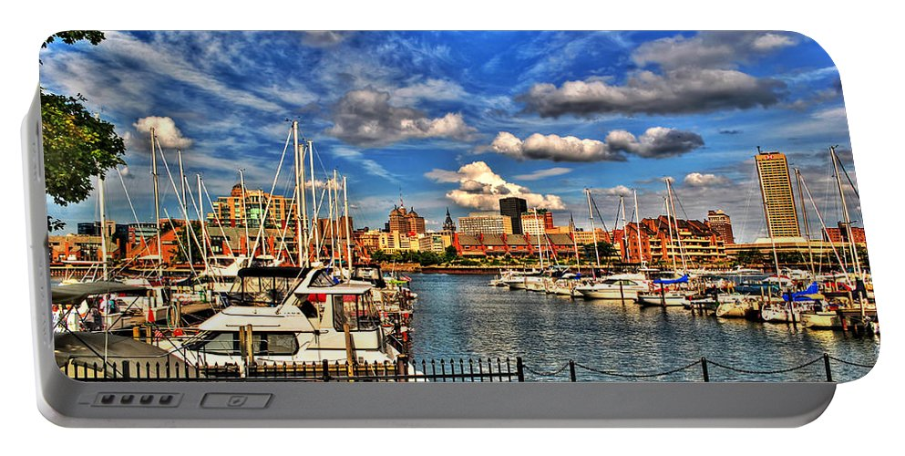 Portable Battery Charger featuring the photograph 006 On A Summers Day Erie Basin Marina Summer Series by Michael Frank Jr