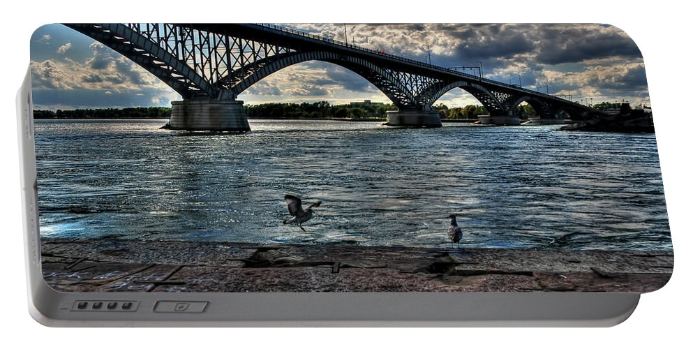 Portable Battery Charger featuring the photograph 006 Peace Bridge Series II Beautiful Skies by Michael Frank Jr