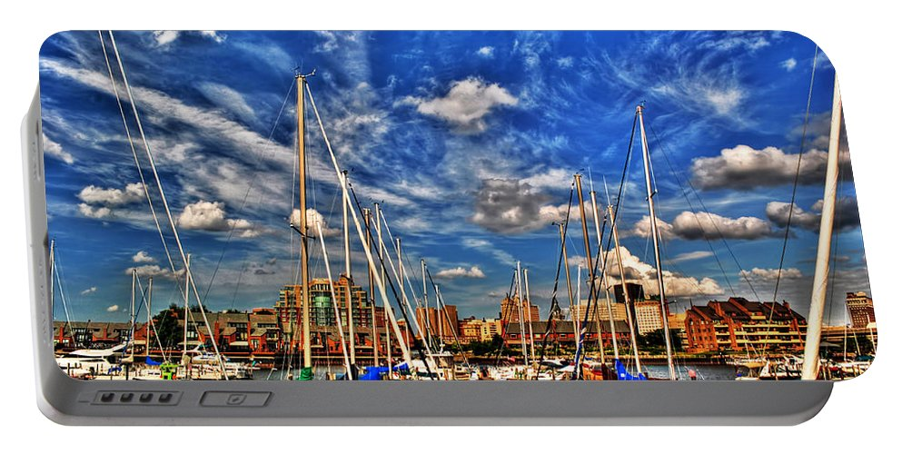 Portable Battery Charger featuring the photograph 007 On A Summers Day Erie Basin Marina Summer Series by Michael Frank Jr