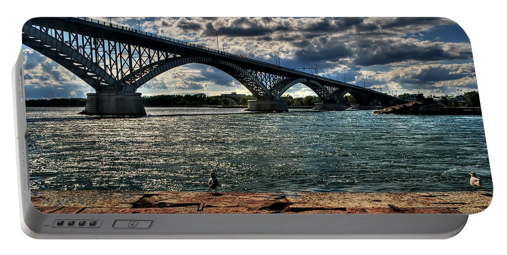 Portable Battery Charger featuring the photograph 007 Peace Bridge Series II Beautiful Skies by Michael Frank Jr