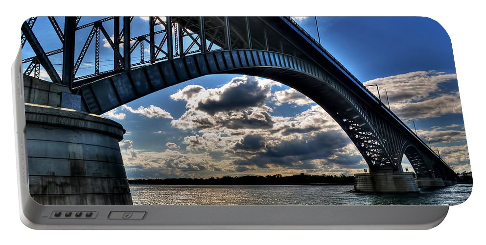 Portable Battery Charger featuring the photograph 012 Peace Bridge Series II Beautiful Skies by Michael Frank Jr