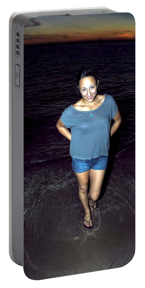 Portable Battery Charger featuring the photograph 013 A Sunset With Eyes That Smile Soothing Sounds Of Waves For Miles Portrait Series by Michael Frank Jr