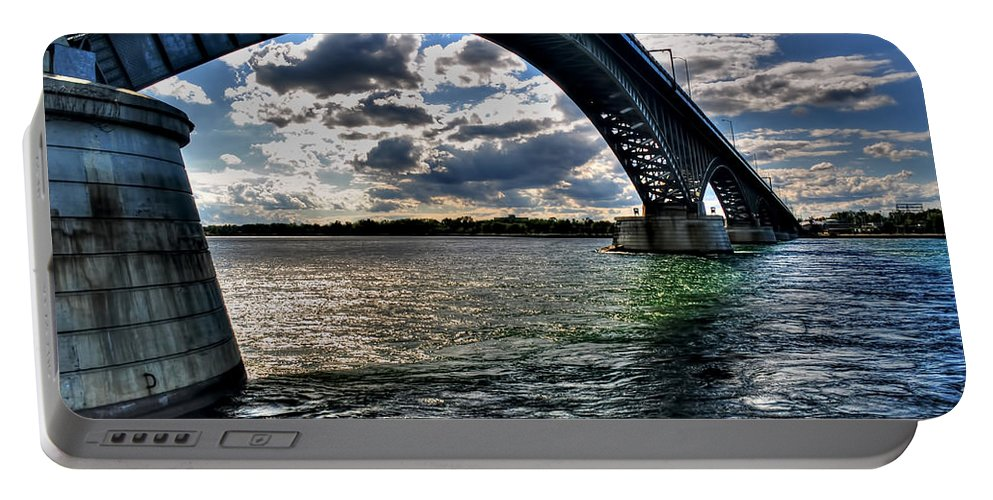 Portable Battery Charger featuring the photograph 013 Peace Bridge Series II Beautiful Skies by Michael Frank Jr