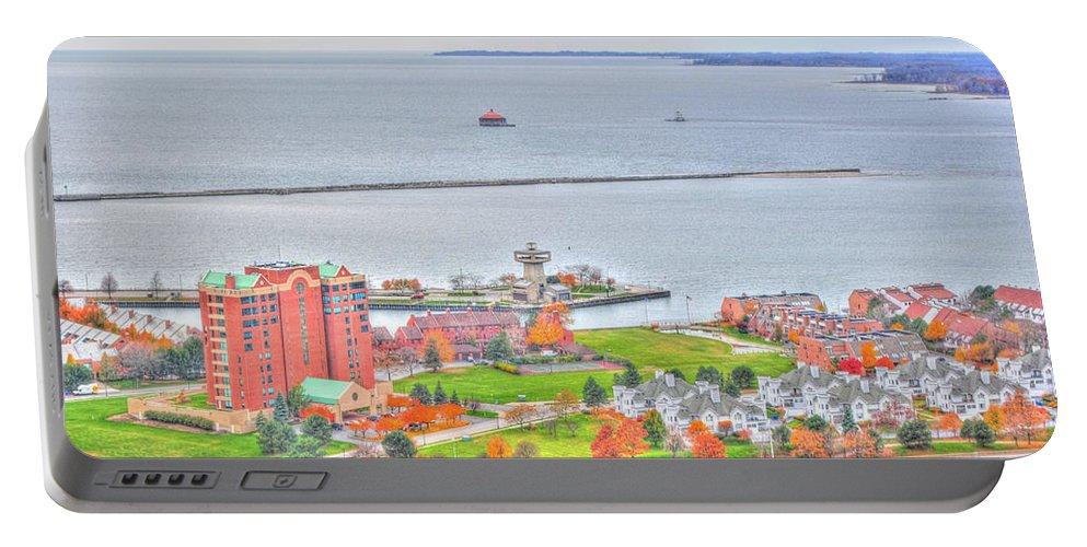 Portable Battery Charger featuring the photograph 013 Series Of Buffalo Ny Via Birds Eye Erie Basin Marina by Michael Frank Jr