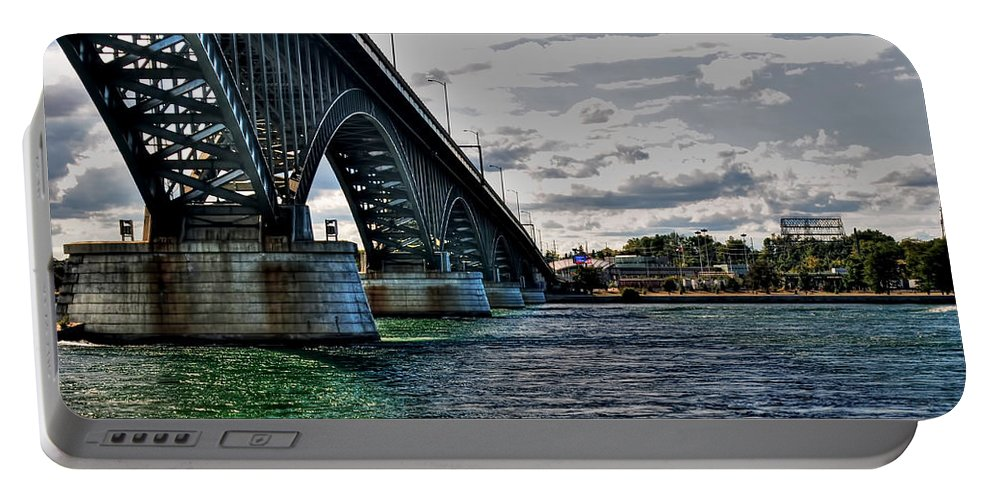 Portable Battery Charger featuring the photograph 014 Peace Bridge Series II Beautiful Skies by Michael Frank Jr